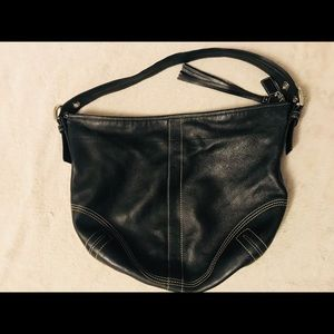 COACH Black Leather Soho Shoulder Bag Hobo Purse